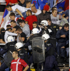 Belgrade Clashes during Euro 2016 Group I qualifying match between Serbia and Albania