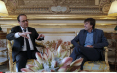 Paris President Hollande meeting with Nicolas Hulot (french environmental activist and special envoy for the protection of the planet)