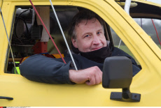 Uk Man who has created a flying Reliant Robin car