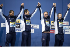 Kazan Men's 4x100m Freestyle Relay (french team) on day nine of the 16th FINA World Championships