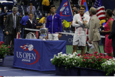 Trophies awarded to Novak Jokovic and Roger Federer at the 2015 Tennis Mens U.S. Open Championships