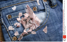 Washed Lottery Ticket in Pocket of a Pair of Jeans, London, Britain - 26 Jan 2016