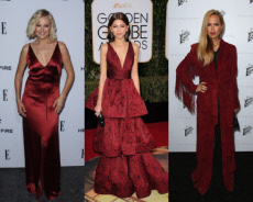 Celebrity ladies in brick red