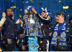 Leicester City FC trophy parade and party in Victoria Park
