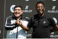 Paris: The two biggest legends of football, Argentina's Diego Maradona and Pele of Brazil
