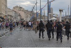 FRA Fans and security in Marseilles. Euro 2016 Marseille ahead of England vs Russia