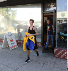 Justin Bieber Leaves Gym With Pumped Up Arm Muscles