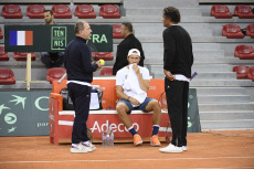 France v Great Britain Davis Cup practice session tennis
