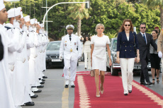 RABAT:  Morocco's Princess Lalla Salma and French president's wife Brigitte Macron at Picasso exhibition