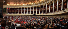 Paris. A panoramic view shows the hemicycle of the French National Assembly