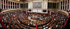Paris. A panoramic view shows the hemicycle of the French National Assembly, Francois de Rugy
