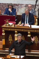 Paris: Melenchon, Fesneau, Demilly  and Faure deliver a speech after Edouard Philippe