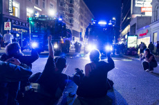 G20 protests take place in central Hamburg, Germany ahead of the start of the 2017 G20 Summit