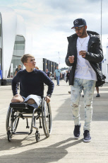 Billy Monger and Lewis Hamilton