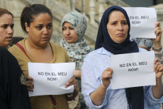 A minutes silence by the Muslim community in Ripoll