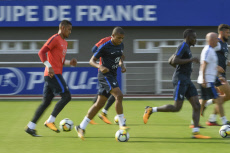 Football: Kylian M'Bappe at French football team's training session