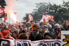 NANTES : Demo against labor code reform.
