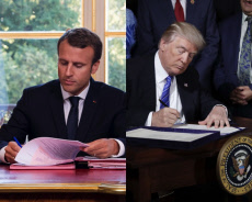 Macron signing like american presidents