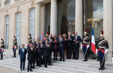 Paris: welcoming ceremony to celebrate Paris' coronation as host of the 2024 Olympics Games at the Elysee Palace