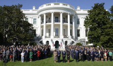 Trumps and Pences Join Moment of Silence at the White House