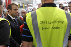 French President Emmanuel Macron during a visit at the Amazon factory in Boves.