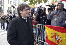 Catalonia leader Carles Puigdemont speaks in Brussels