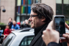 Puigdemont Arriving At Press Conference In Brussels