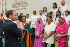 New Delhi: Emmanuel Macron with Solar Mamas