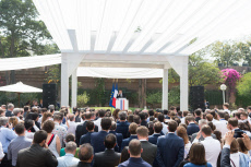 New Delhi: Emmanuel Macron delivers a speech to the French Community