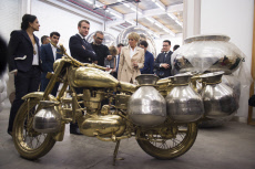 Emmanuel and Brigitte Macron  during a visit to showroom of artist Subodh Gupta -  New Delhi