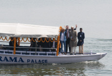 Varanasi: Brigitte Macron on a boat on Ganges river
