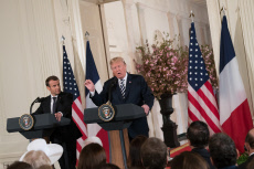 Washington: Us President Trump and French President Macron during a press conference