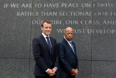 USA French President Emmanuel Macron with US Rep. John Lewis during a visit to the Martin Luther King,Jr. Memorial in Washington