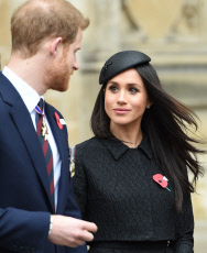 The Duke of Cambridge, Prince Harry and Meghan Markle attend an Anzac Day Service
