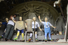 India: Clay models of various footballers