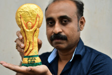 Replica of the FIFA world cup football trophy in Agartala, India - 19 Jun 2018