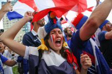 World Cup 2018: France fans celebrate victory in Nizhny Novgorod, Russia - 06 Jul 2018