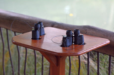 Two binoculars ready for birdwatching activity