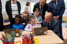 Vernon: Blanquer and Lecornu visiting a school
