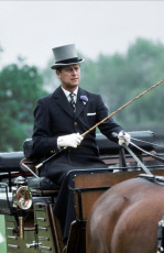 Prince Philip, Duke of Edinburgh, in horse-drawn carriage