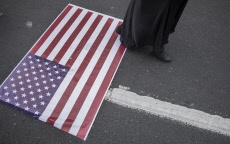 Iran-Anti U.S. demonstration-Flags