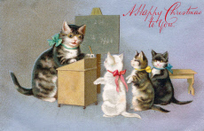 Cat and kittens in a schoolroom on a Christmas postcard