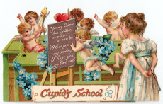 Cupids at school with hearts and flowers on a Valentine card