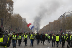 Gilets jaune protest on the Champs Elysees