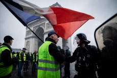 Clashes on Place de l'Etoile IN PARIS