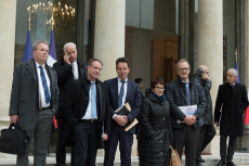 PARIS: End of the meeting between Macron and leaders of Unions and local elected