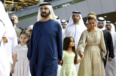 Dubai, United Arab Emirates, Sheikh Mohammed bin Rashid Al Maktoum (left) and his wife Princess Haya Bint Al Hussein with daughters