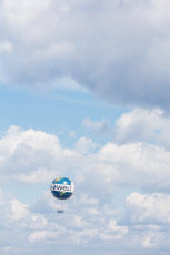 Berlin, Germany, captive balloon with advertising for the daily Die Welt am Himmel