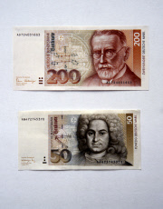 Berlin, Germany - Banknotes worth 50 DM and 200 DM