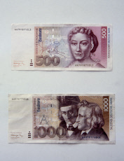 Berlin, Germany - Banknotes worth 500 DM and 1000 DM